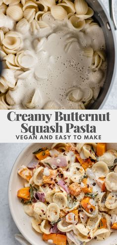 A creamy, richly flavored butternut squash pasta recipe infused with roasted garlic and sage. Easy to make with simple vegan ingredients.