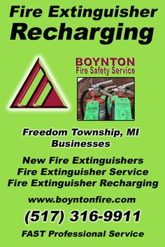 Fire Extinguisher Recharging Freedom Township, MI (517) 316-9911 Local Michigan Businesses Discover the Complete Fire Protection Source.  We're Boynton Fire Safety Service.. Call us today!