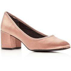 Kenneth Cole Women's Eryn Satin Block Heel Pumps (3 465 UAH) ❤ liked on Polyvore featuring shoes, pumps, blush, rubber sole shoes, kenneth cole pumps, block heel pumps, satin shoes and satin pumps
