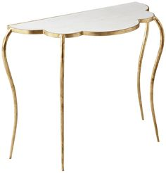 FLORA MARBLE TOP GOLD LEAF DEMILUNE CONSOLE TABLE
