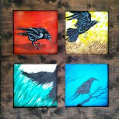 Raven themed wood piece. Painted by me. Built a custom frame to hold all four paintings. #wood #woodworking #art #raven