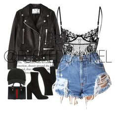 black leather jacket, black lace bodysuit, and black ankle booties image