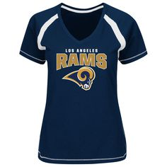 online store 3a0a9 176e6 Women s Los Angeles Rams Majestic Navy Game Day Tradition V-Neck T-Shirt