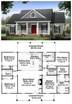 #Country #HomePlan 59952 | This well-designed plan provides many amenities that you would expect to find in a much larger home. The master suite features a wonderful bathroom with large walk-in closet. This plan also features a flex space which could be used as a fourth bedroom or an office. The great room has gas logs as well as built-in cabinets and 10' ceilings that make it a great place to relax and spend time with family and friends. LOVE the half bath!