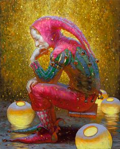 Thought of jester. Painting by Russian artist Victor Nizovtsev Art And Illustration, Fantasy Kunst, Fantasy Art, Clowns, Victor Nizovtsev, Pierrot Clown, Court Jester, Kunst Online, Photocollage