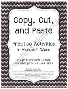 Copy, Cut and Paste Practice Exercises (in Word) from Miss Kay's Computer on TeachersNotebook.com - (16 pages) - This bundle contains 8 digital activities for students to practice their copy, cut and pasting skills on the computer! The activities use bright colors and fun graphics to keep kids interested and entertained.