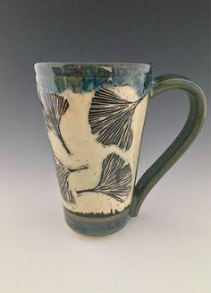 Ceramic Sgraffito Mug/Stein/Cup Wheel-thrown by NorthWind