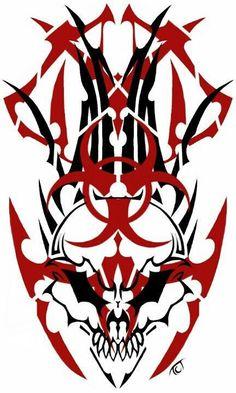 Dragon Tattoo Sketch, Tattoo Sketches, Skull Rose Tattoos, Body Art Tattoos, Tatoos, Tribal Tattoo Designs, Tribal Tattoos, Biohazard Tattoo, Badass Drawings