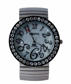 Geneva Women's Smoke Jumbo Stretch Band Watch with Baguette Stones Bezel Geneva. Save 39 Off!. $21.99. Precision Crafted Japan Quartz Movement. Stainless Steel Back Cover. Stretch Band Watch. Case Daimeter 47.95MM. Baguette Stone Bezel