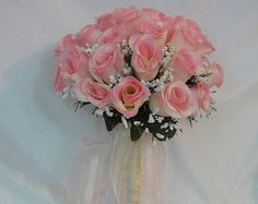 Wedding Bridal Floral Bouquet - Silk Rose Flowers - Two Tone - Ivory / Pink With Raindrops And Organza / Satin Ribbons (SRWB-049)