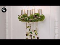 DIY- Adventskranz selber machen | aus Moos, Zapfen, Zweigen und Glaskugeln | Trend 2017 Grün-Natur - YouTube