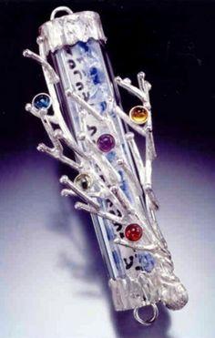Tree of Life Wedding Glass Mezuzah.