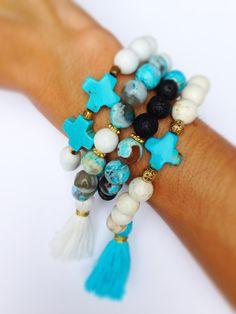 Tassel Bracelet, Boho Chic, Stackable Stretch Bracelets Set of 3 by FancyFreebirds on Etsy https://www.etsy.com/listing/165853706/tassel-bracelet-boho-chic-stackable