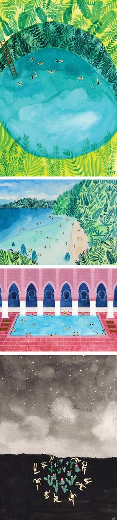 Joanne Ho's colorful paintings celebrate the joy of swimming in the summer. Seen from a bird's eye view, tiny people—the size of ants—enjoy the water.