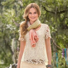 """FILIGREE LACE TOP--Both flirty and sweet, our vintage inspired lace top with a breezy, woven back inspires carefree days and romantic nostalgia. Cotton/polyester. Hand wash. Imported. Exclusive. Sizes XS (2), S (4 to 6), M (8 to 10), L (12), XL (14). Approx. 26-1/2""""L."""