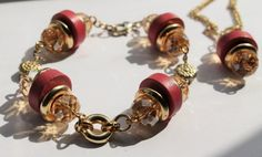 Earth Day special. Pink and Gold Upcycled Necklace and Bracelet by DorsetCreations