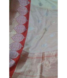 Off White Pure Banarasi Katan Silk Saree