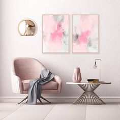 Pink Abstract Art Set of 2 Dusty Pink and Grey Paintings