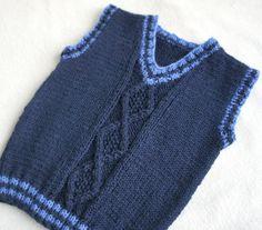 Los niños de la mano chaleco de punto lana, punto bebé niño chaleco, niño azul chaleco, tapa del tanque para el muchacho