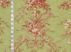 Laura Ashley fabric bird toile green red from Brick House Fabric: Novelty Fabric