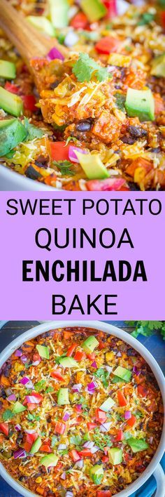 This Sweet Potato Quinoa Enchilada Bake is loaded with veggies making it a healthy vegan dinner!  You can also make it a few days in advance for a quick and easy weeknight dinner!  Vegetarian/Gluten Free/Vegan/Dinner