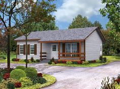 House Plan 95980   Cabin Country Ranch Southern Plan with 864 Sq. Ft., 2 Bedrooms, 1 Bathrooms