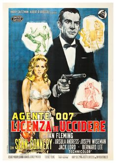 Ian Fleming's Dr. No - Sean Connery makes his debut as 007 (Italian version movie poster). #Bond50