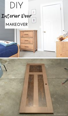 Give your flat panel doors a new look with this DIY interior door makeover. Farmhouse Interior Doors, Diy Interior Doors, Farmhouse Bedroom Decor, Diy Interior Door Makeover, Closet Door Makeover, Interior Design, Home Renovation, Home Remodeling, Craftsman Door