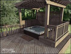 hot tub and pergola