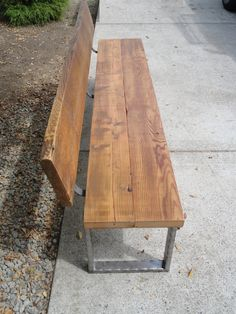 CUDTOM 3 ft Bench with angle iron trim with back and rectangular legs made from antique barnwood and steel rustic primitive oak pine maple table log bench stump wood raw live edge end coffee nightstand reclaimed salvaged modern ipod barnwood small large industrial furniture armrest back full dining chair metal steel iron barn seat tree stool slab seating backrest