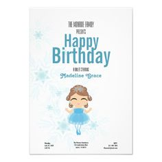 This winter BALLERINA birthday invitation is available in different skin and hair colors in the our RicanBaby shop at Zazzle.com .