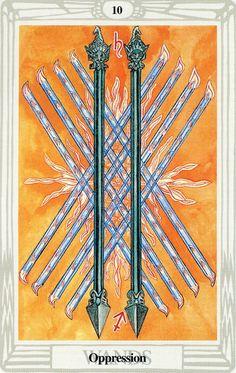 10 de bâtons (Oppression) - Tarot Thoth par Aleister Crowley