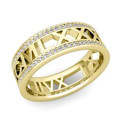 Roman Numeral Diamond Wedding Eternity Band Ring in 18k Gold. Design and handcrafted by My Love Wedding Ring. This eye-catching roman numeral wedding ring is crafted in a 18k gold eternity band with sparkling diamonds all the way around the ring.