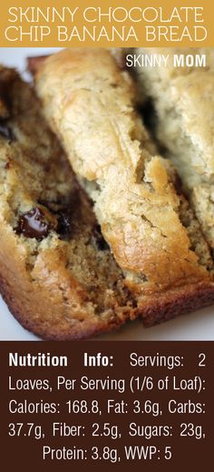 Skinny Chocolate Chip Banana Bread | Skinny Mom | Tips for Moms | Fitness | Food | Fashion | Family