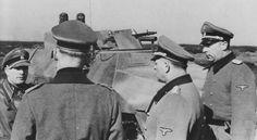 A Sd.Kfz. 251/16 fitted with flame projectors from 12. SS Panzer Division Hitlerjugend being inspected by officers at the Beverloo Training Ground, Belgium in March 1944. From left to right: SS-Sturmbannführer Gerhard Bremer, Generalfeldmarschall Gerd von Rundstedt, SS-Obergruppenführer Josef Dietrich, SS-Obersturmbannführer Wilhelm Mohnke.