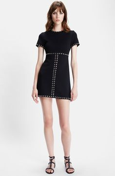 "Free shipping and returns on Saint Laurent Studded Milano Jersey Dress at Nordstrom.com. <p><B STYLE=""COLOR:#990000"">Pre-order this style from the Pre-Spring 2015 collection! Limited quantities. Ships as soon as available. You'll be charged only when your item ships.</b></P><br>High-shine studs emphasize the clean styling of a crewneck A-line dress cut from a dense wool jersey."