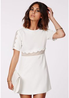 5fd14013b52 Verity Crepe Scallop Shift Dress White  47.48  white  dress  short  sleeve