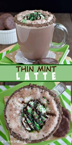 This homemade chocolate mint latte is topped with Thin Mint cookie crumbles and tastes so good! This homemade chocolate mint latte is topped with Thin Mint cookie crumbles and tastes so good! Coffee Drink Recipes, Tea Recipes, Coffee Drinks, Ninja Coffee Bar Recipes, Thin Mints, Mooncake, Homemade Chocolate, Mint Chocolate, Mint Hot Chocolate Recipe