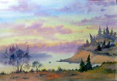 """Купить """" Раннее утро"""" (акварель 21 на 29,7 см) - комбинированный, картина в подарок"""