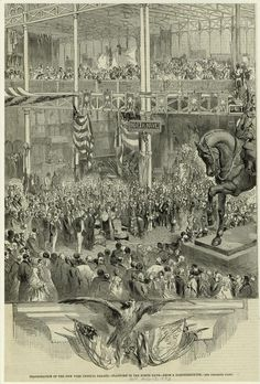 Another view of the inside, this time during the inauguration of the New York Crystal Palace in July 1853 -- looking at a platform in the north nave. Courtesy New York Public Library