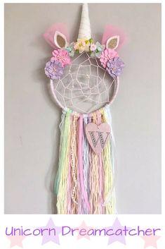 Personalised Unicorn Dreamcatcher with added webbing | Nursery decor | Kids' bedrooms | Girl's bedroom #unicorn #kidsroom #nurserydecor #homedecorideas #affiliate