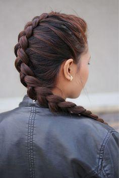 DIY faux hawk Dutch Braid hairstyle for 2014 - brown hair, Long Braided Hairstyle, 2014 Holiday Hairstyles