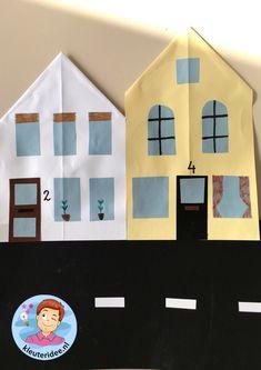 Straat vouwen en plakken, kleuteridee, thema post en pakket 4. Reggio Emilia, Post Office, Paper Flowers, Construction, Holiday Decor, Kids, Home Decor, School, Building