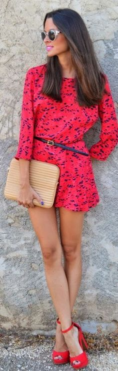 Everyday New Fashion: Red And Blue Spotted Playsuit by Look For Time