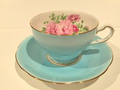Aqua Adderley Tea Cup and Saucer, English Teacups, Tea Set, Aqua Pink Flower Cups, Antique Tea Cups, Shabby Chic, Bone China Cups, Tea Party by AprilsLuxuries on Etsy