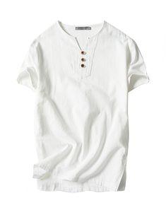 8a7cd5d38b50 Men s Cotton Linen Shirt V-Neck Short Sleeve Casual T Shirts - White T187 -  CB183LHWAGY