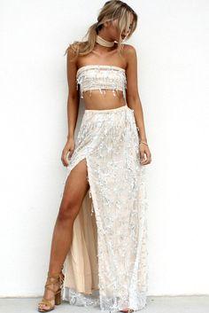 38721f8f Joline Two-Piece Sequin Dress. Sexy Maxi DressMaxi DressesDress VestidosChiffon  MaterialTube DressTasselsSequinsCrop TopsClothes For Women