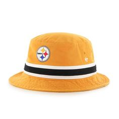 finest selection 8d734 1bd1c Pittsburgh Steelers 47 Brand Striped Gold Bucket Hat