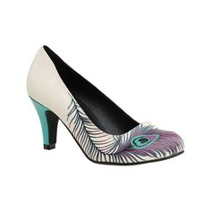 Women's T.U.K. Original Footwear Peacock Feather Heel - Cream PU... ($55) ❤ liked on Polyvore featuring shoes, pumps, casual, white, print pumps, peacock feather shoes, cream shoes, peacock pumps and white shoes