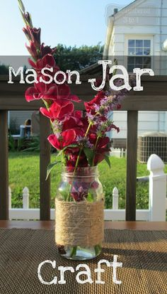 Easy Mason Jar Craft - even for the non-crafty type http://www.outnumbered3-1.com/2013/07/easy-twine-mason-jar-craft.html